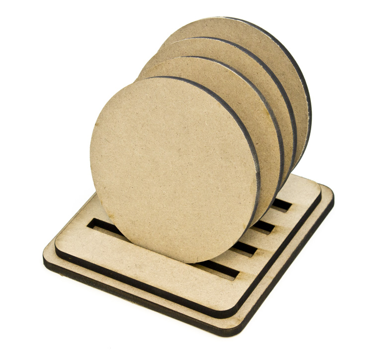 Simple Round Coasters - Set of 4 with Base
