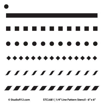 "1/4"" Line Pattern Stencil - 6"" x 6"" - STCL681_1"