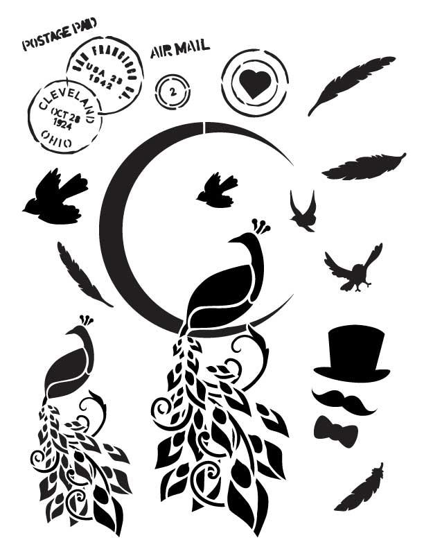 "Midnight Peacock - Art Stencil - 8.5"" x 11"" - Whimsical"