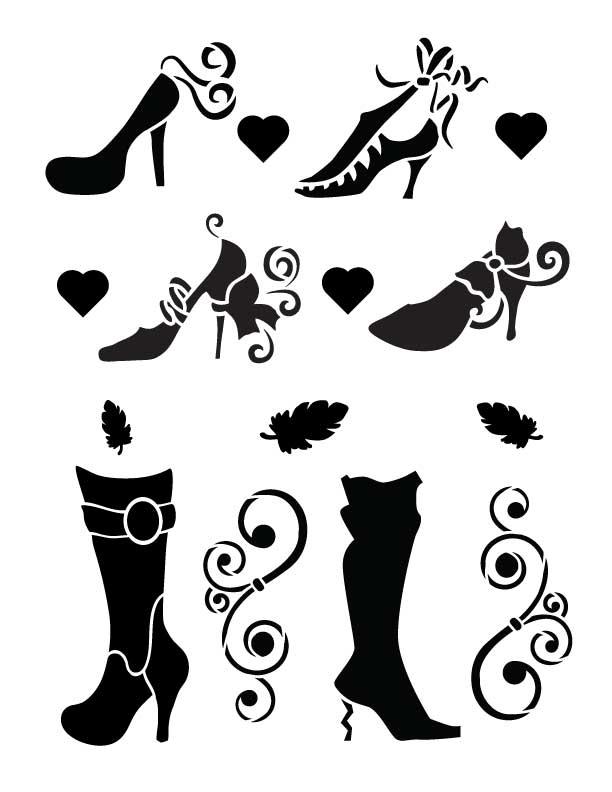 "Fashion Shoes - Art Stencil - 8.5"" x 11"" - Vogue"