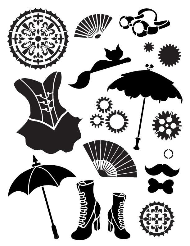 "Steampunk Kitty - Art Stencil - 8.5"" x 11"" - Steampunk Fashion"