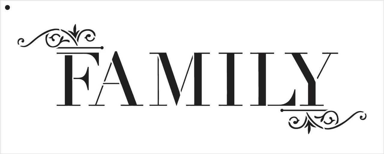 """Family - Word Art Stencil - Classic Embellished - 15"""" x 5"""""""