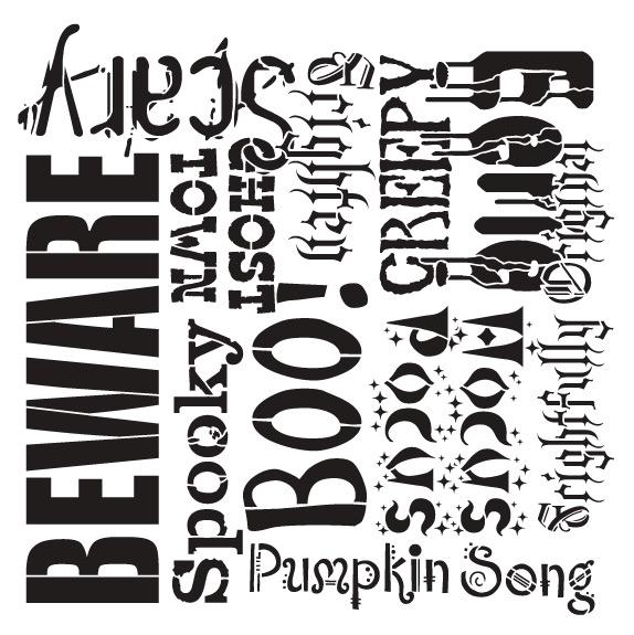 "Spooky Halloween Background Word Stencil  - 12"" x 12"""