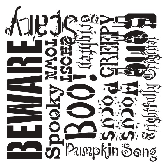 "Spooky Halloween Background Word Stencil  - 16"" x 16"""