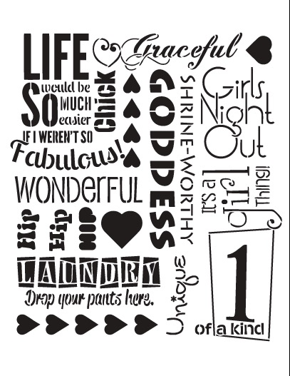 """It's A Girl Thing Background Word Stencil  - 12"""" x 15"""""""