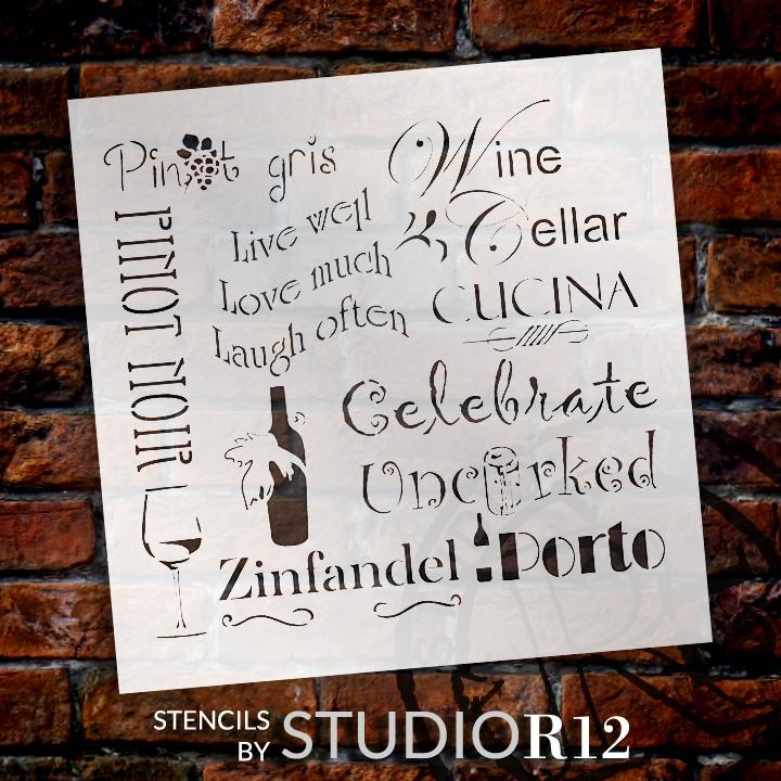 "Celebrate Wine Background Word Stencil  - 9"" x 9"" - STCL696_1 - by StudioR12"