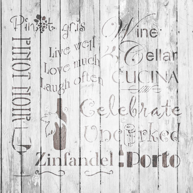 "Celebrate Wine Background Word Stencil  - 16"" x 16"" - STCL696_3 - by StudioR12"