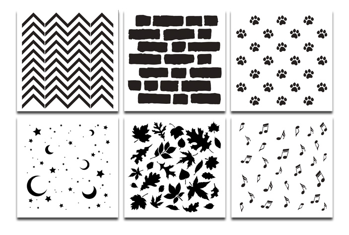 "6"" x 6"" Pattern Stencil Set - 6pc"
