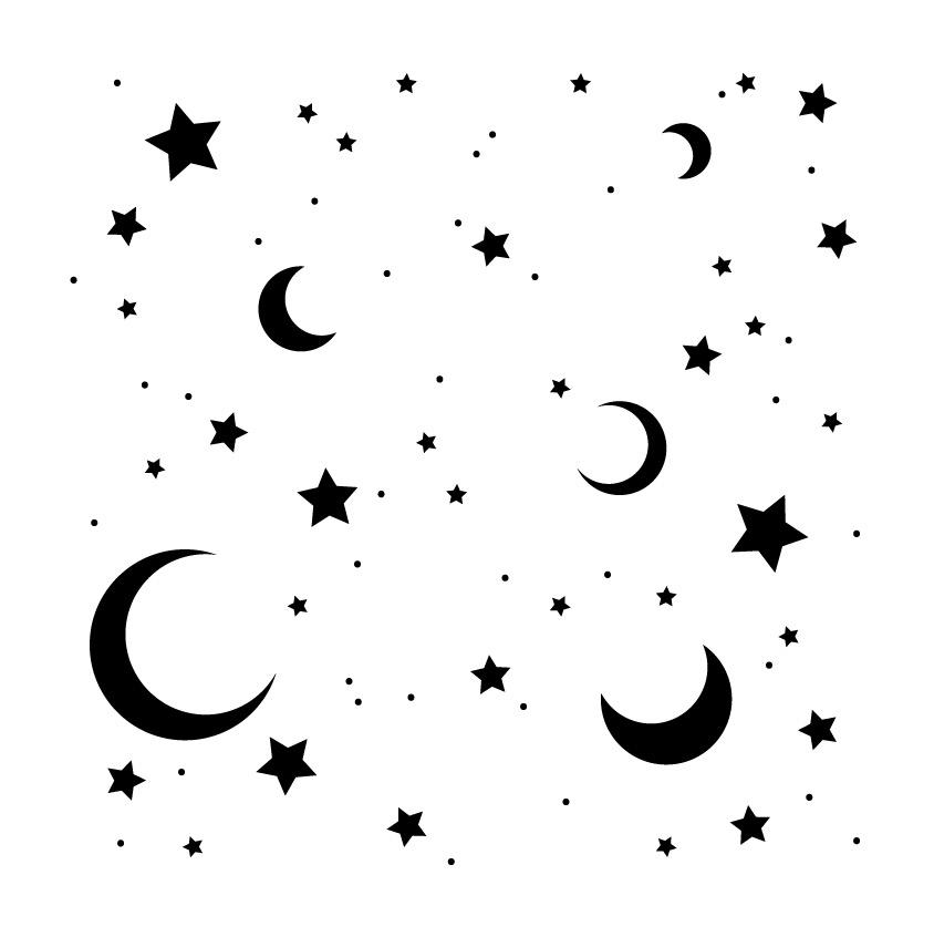 """Moon & Stars - Pattern Stencil - 6"""" x 6"""""""