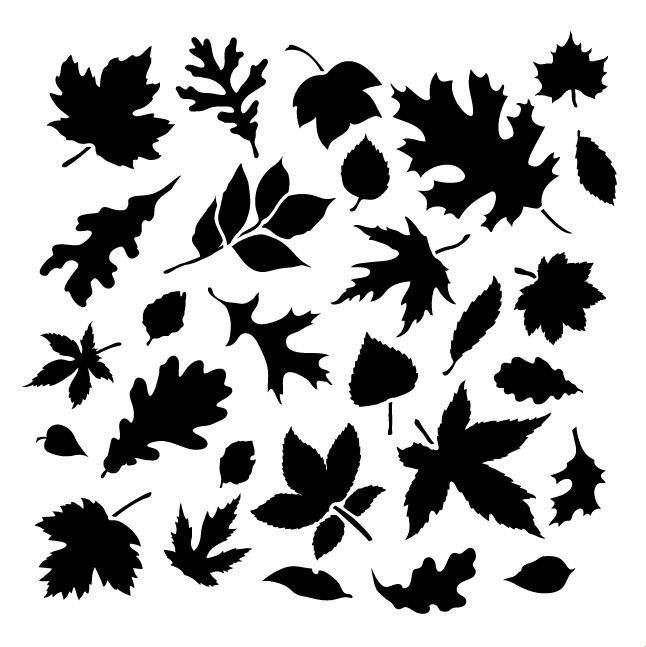 """Fall Leaves - Pattern Stencil - 6"""" x 6"""""""