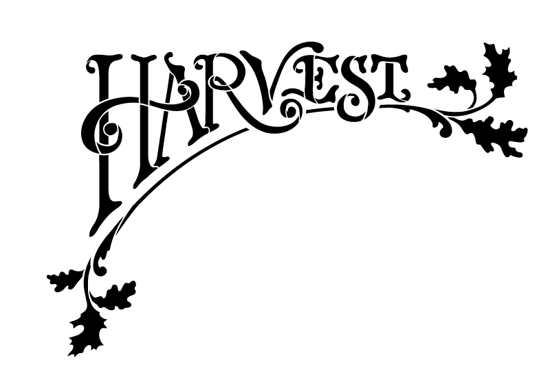 "Harvest Word Art Stencil - Arching with Leaves - 9"" x 13"""