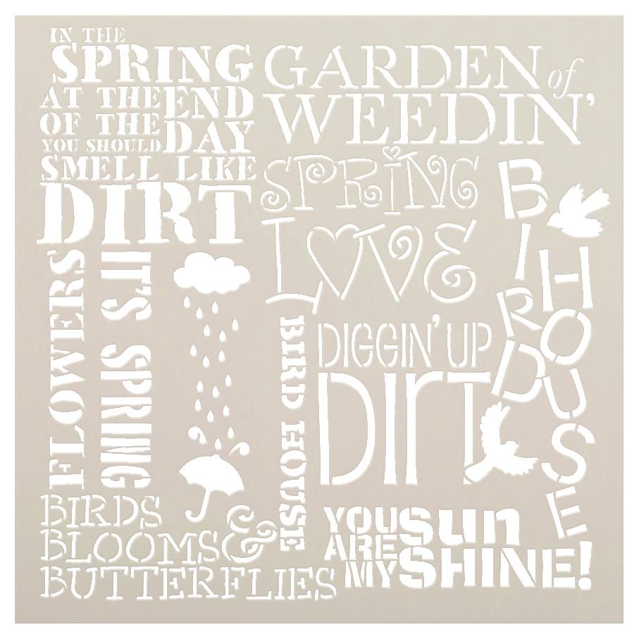"Spring Love Background Word Stencil  - 16"" x 16"""