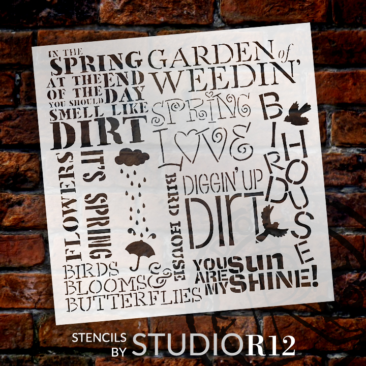 "Spring Love Background Word Stencil  - 19.5"" x 19.5"""