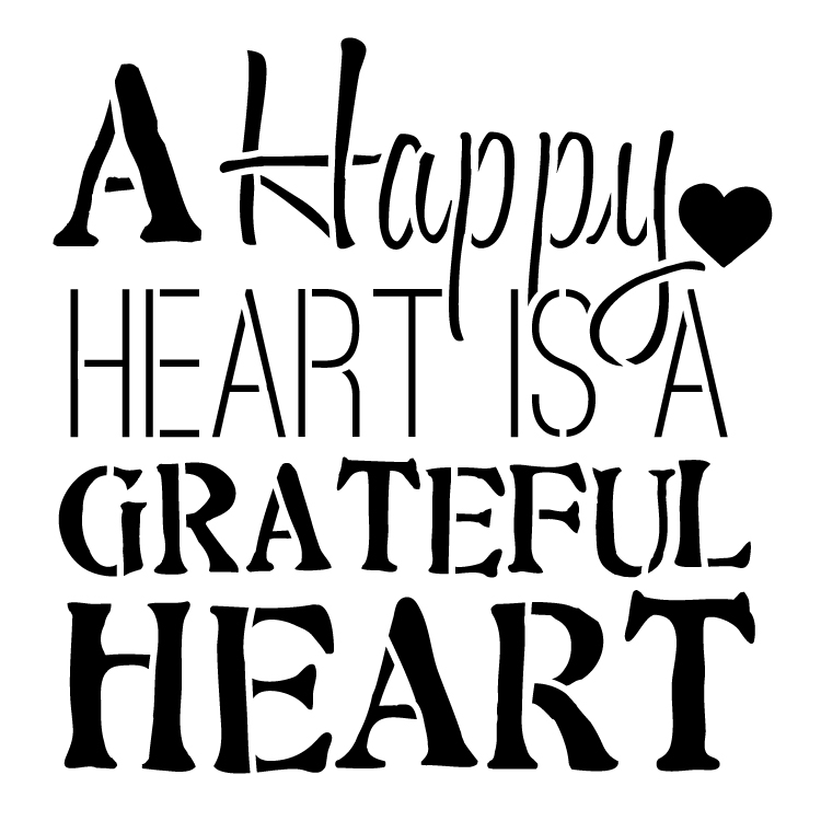 "A Happy Heart Word Art Stencil -  16"" x 16"""