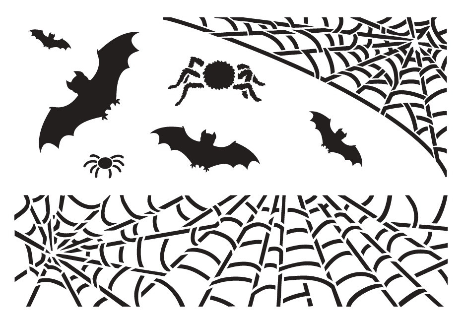 "Spiders and Bats - Art Stencil - 13"" x 9"""