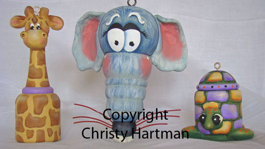 Giraffe, Rat, Turtle Zoo Sculpted Ornaments - E-Packet - Christy Hartman