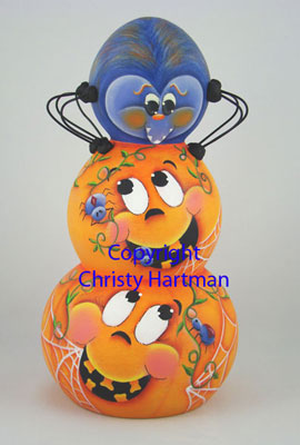 Pumpkin Stack With a Spider on Top - E-Packet - Christy Hartman