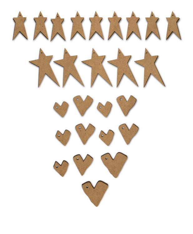 Primitive Hearts and Stars Embellishment Set - 26pc