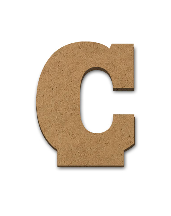 """Standing Wood Letter Surface - C - 3"""" x 3 5/8"""""""