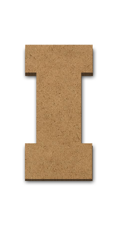 """Standing Wood Letter Surface - I - 1 7/8"""" x 3 5/8"""""""