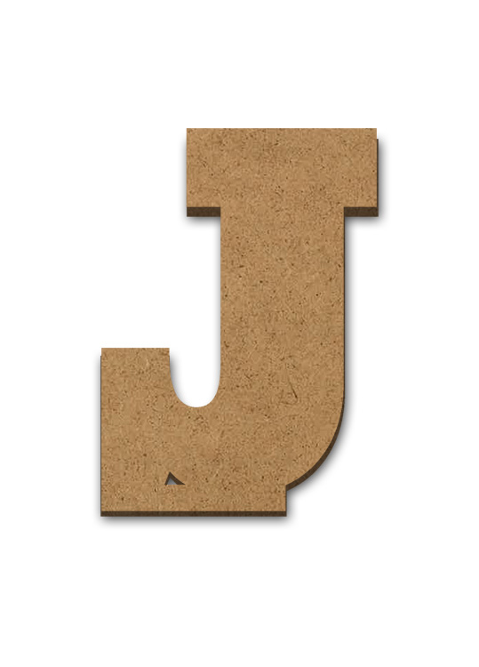"""Standing Wood Letter Surface - J - 2 5/8"""" x 3 5/8"""""""