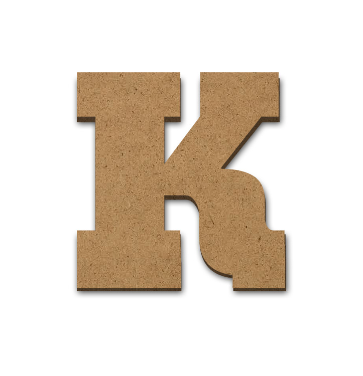 """Standing Wood Letter Surface - K - 3 1/2"""" x 3 5/8"""""""