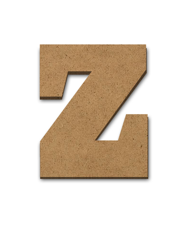 "Standing Wood Letter Surface - Z - 3"" x 3 5/8"""