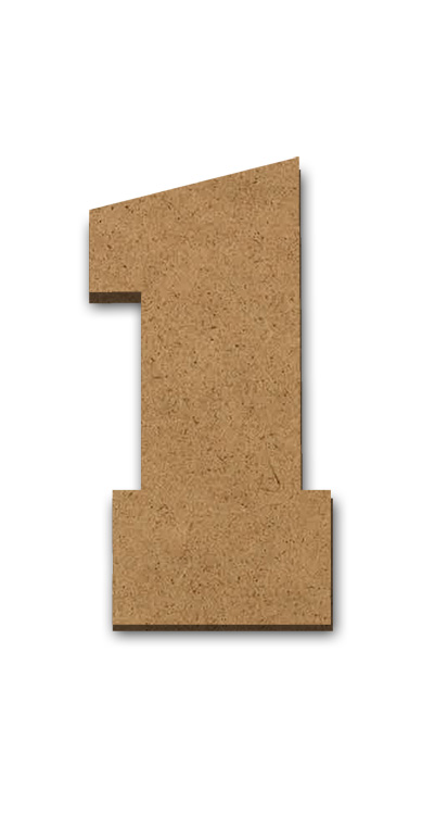 """Standing Wood Letter Surface - 1 - 2"""" x 3 5/8"""""""