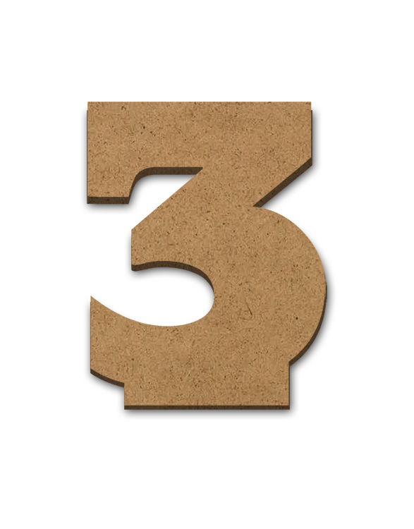 """Standing Wood Letter Surface - 3 - 2 7/8"""" x 3 5/8"""""""