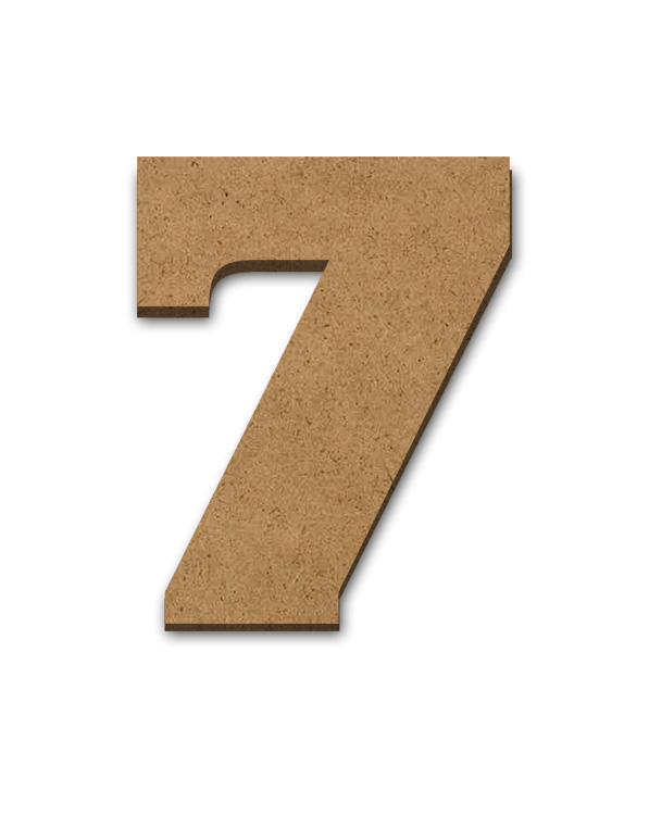 """Standing Wood Letter Surface - 7 - 2 7/8"""" x 3 5/8"""""""