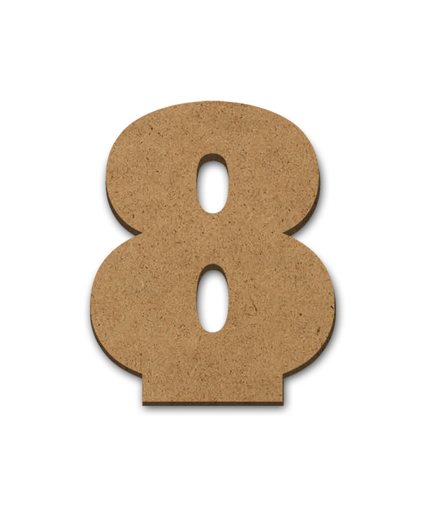 """Standing Wood Letter Surface - 8 - 3"""" x 3 5/8"""""""
