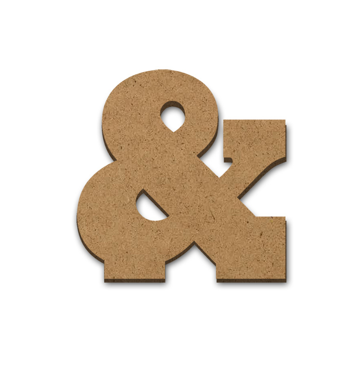 """Standing Wood Letter Surface - Ampersand - 3 1/2"""" x 3 5/8"""""""