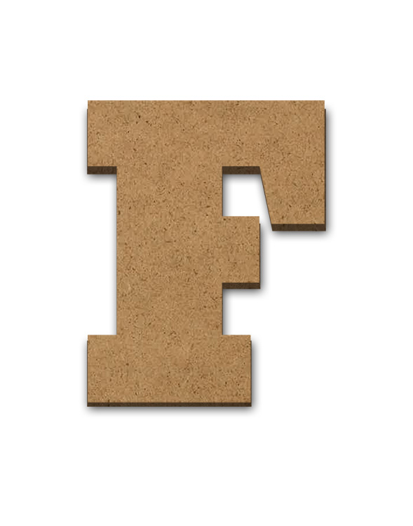 """Wood Letter Surface - F - 2 3/4"""" x 3 3/8"""""""
