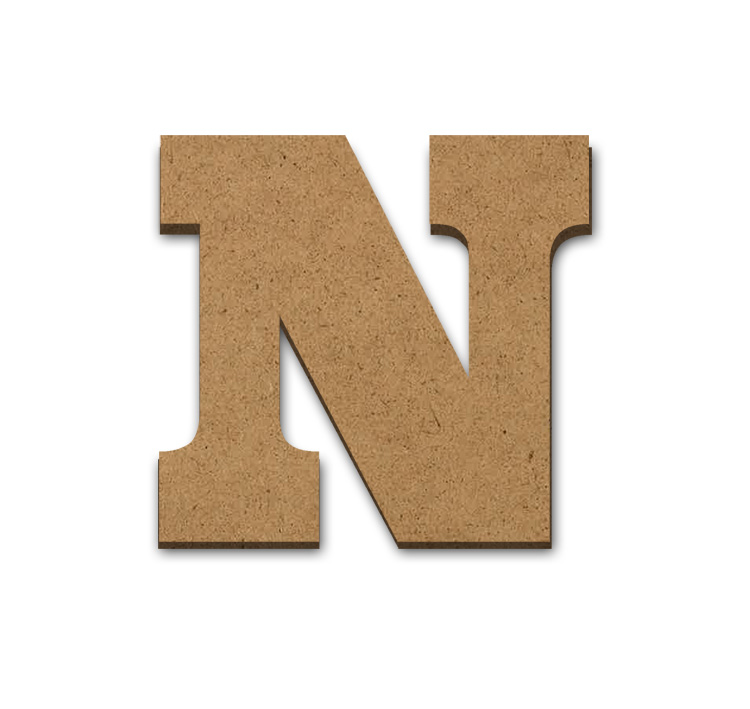 """Wood Letter Surface - N - 3 5/8"""" x 3 3/8"""""""