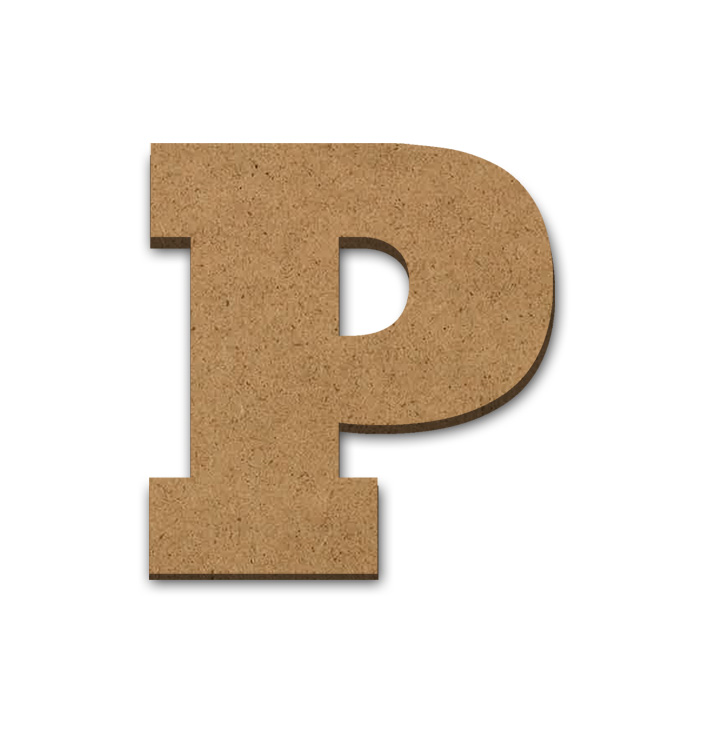 "Wood Letter Surface - P - 3 1/4"" x 3 3/8"""