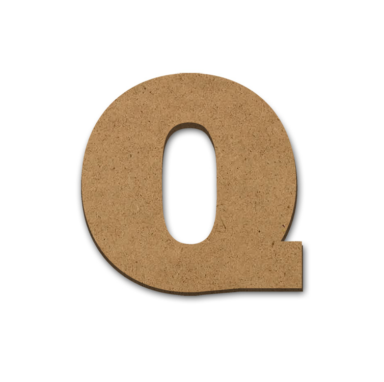 "Wood Letter Surface - Q - 3 5/8"" x 3 3/8"""