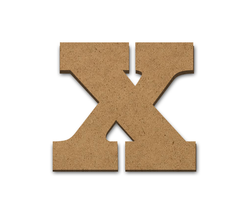 "Wood Letter Surface - X - 3 7/8"" x 3 3/8"""