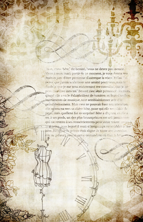 """Steampunk Storybook Beauty & Beast Collage Paper - Antique - 10"""" x 16"""""""