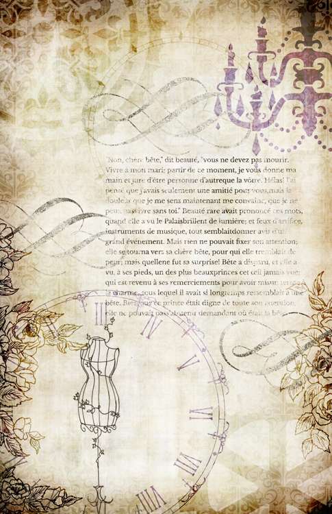 """Steampunk Storybook Beauty & Beast Collage Paper - Lavender - 10"""" x 16"""""""