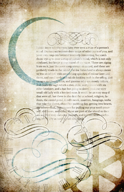 "Steampunk Storybook Peter Pan Collage Paper - Teal - 10"" x 16"""