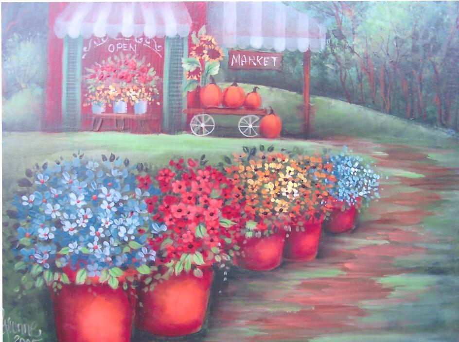 Country Market Autumn Scene - E-Packet - Yvonne Kresal
