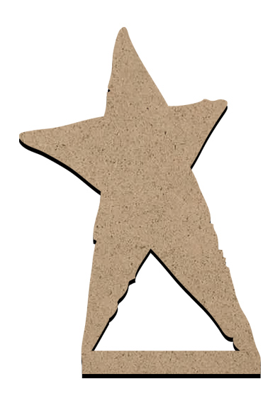 "Standing Word Bling Surface - Primitive Star - Mini - 2"" x 2 7/8"""