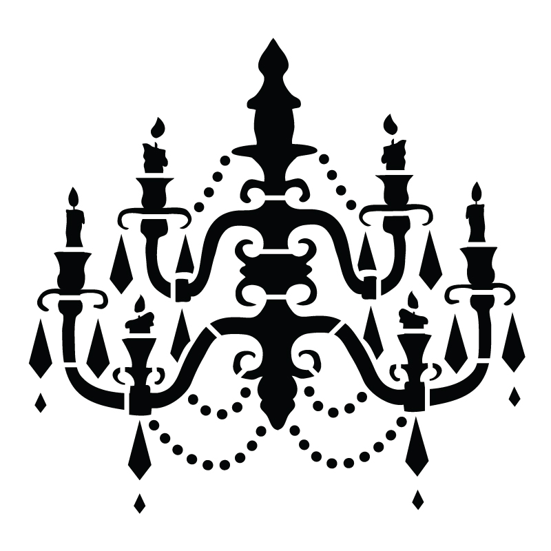 "Chandelier - Art Stencil - Baroque - 12"" x 12"""