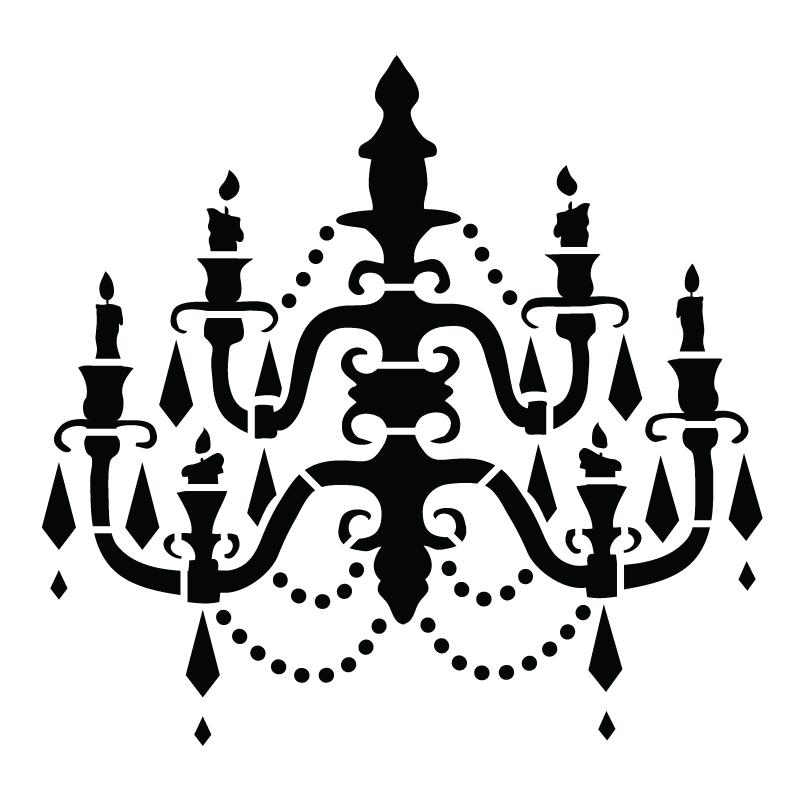"""Chandelier - Art Stencil - Baroque - 15"""" x 15"""""""