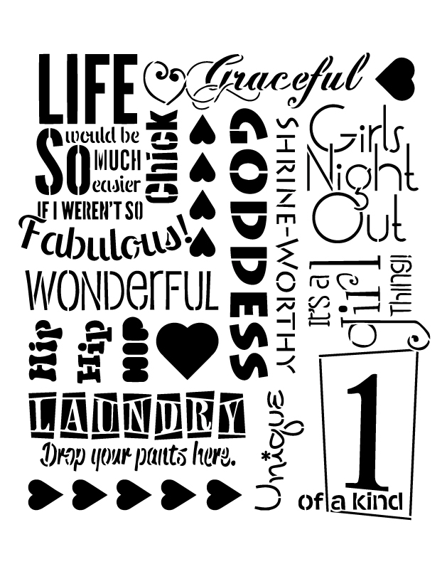 "Diva Background Word Art Stencil - 8 1/2"" x 11"""