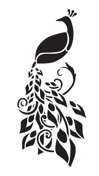"Enchanting Peacock Art Stencil - 6"" x 11"""