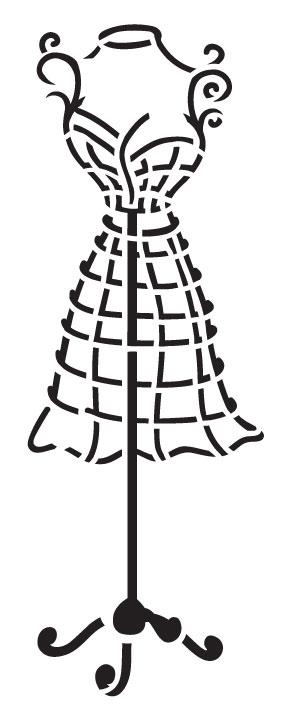 """Diva Dress Form Art Stencil - 4"""" x 10"""""""