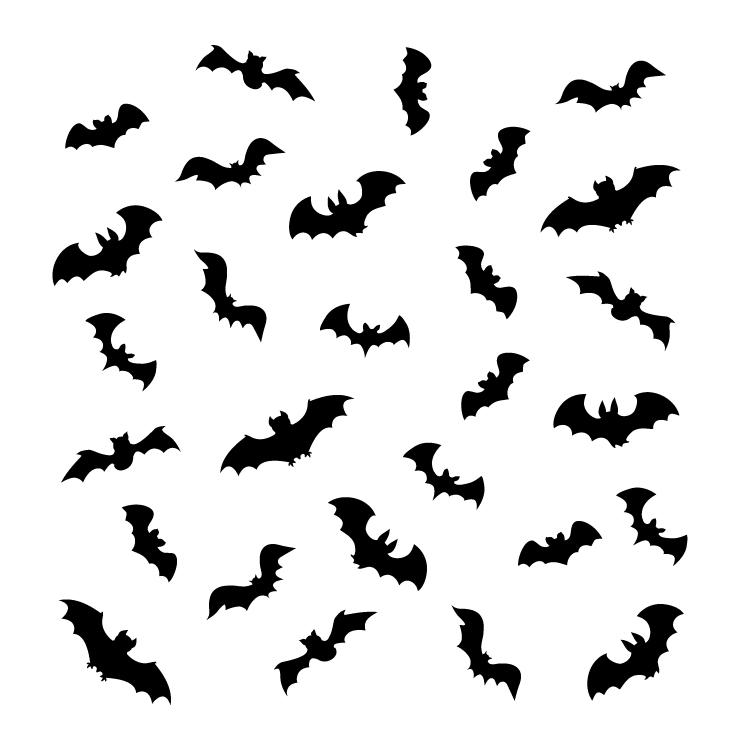 """Bats Mini Pattern Stencil - 4"""" x 4"""""""
