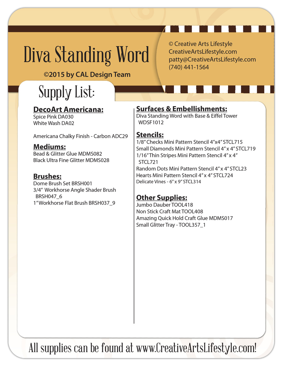 Diva Standing Word Pattern Packet - Patricia Rawlinson