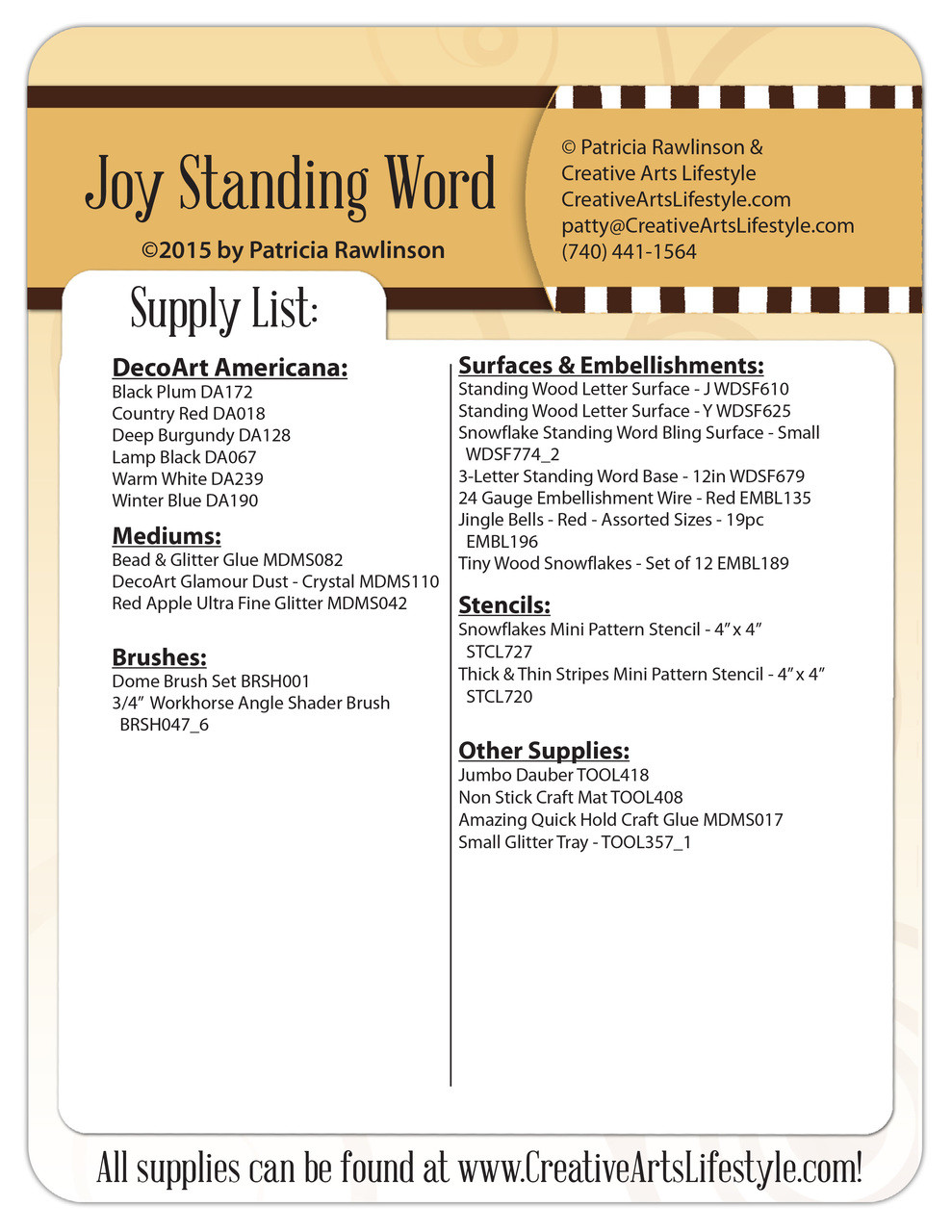Joy Standing Word Pattern Packet - Patricia Rawlinson